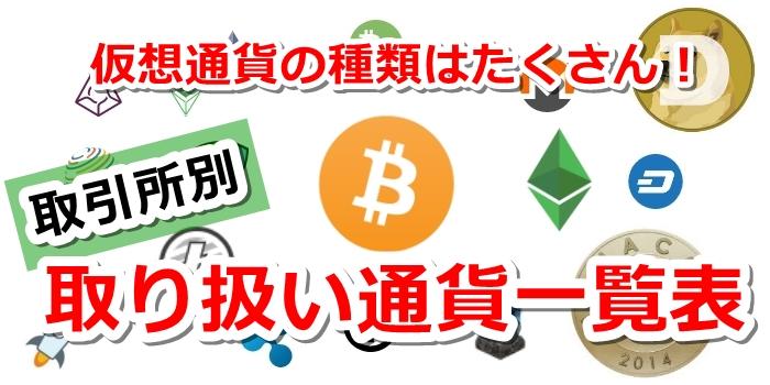 仮想通貨の種類を取引所別で一覧表を作りました!取扱い通貨を比較できます!